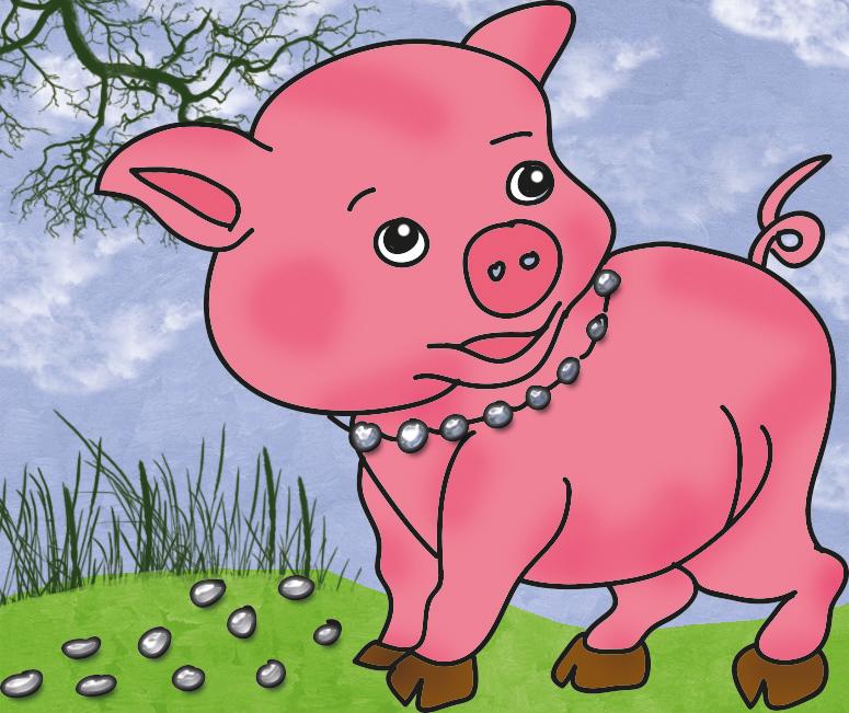 Schwein-mit-Perlenkette