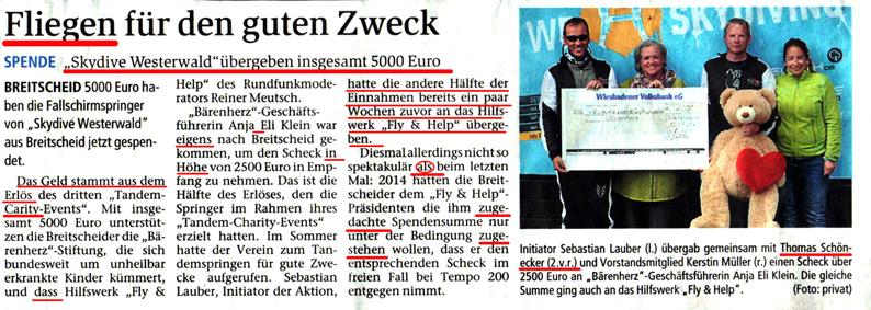 klein-Zeitungsartikel Spende