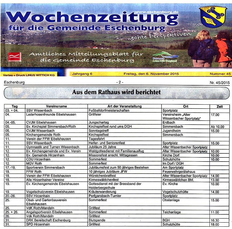 Veranstaltungskalender Eschenburg-klein