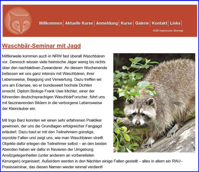 Waschbär-Seminar mit Jagd am Edersee